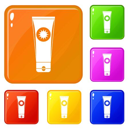 Sunscreen icons set vector color