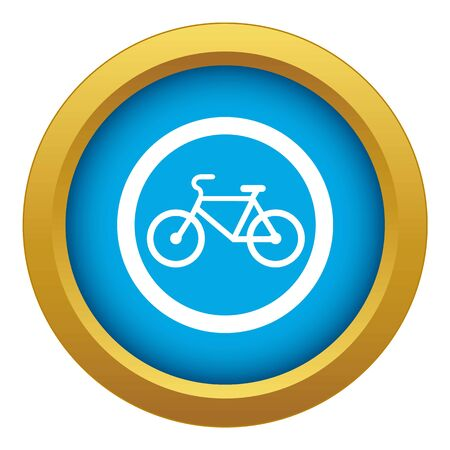 Travel by bicycle is prohibited traffic sign icon blue vector isolated on white background for any design