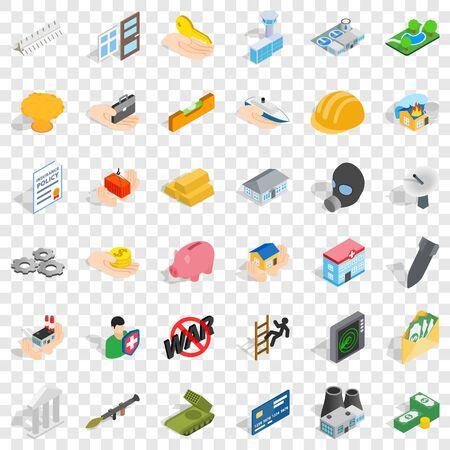 Corporation icons set, isometric style Ilustração