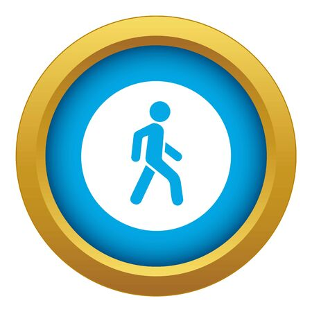 Pedestrians only road sign icon blue vector isolated