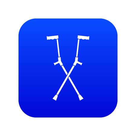 Other crutches icon digital blue Ilustrace