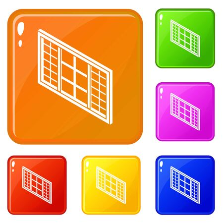 Wood window frame icons set vector color Vettoriali