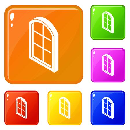 Close window frame icons set vector color