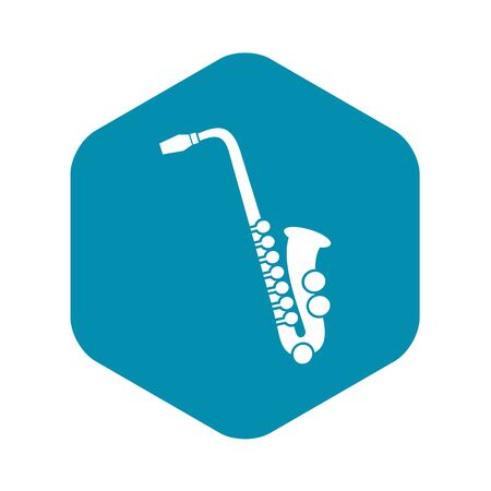 Saxophone icon in simple style on a white background vector illustration