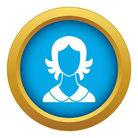 Woman icon blue vector isolated on white background for any design