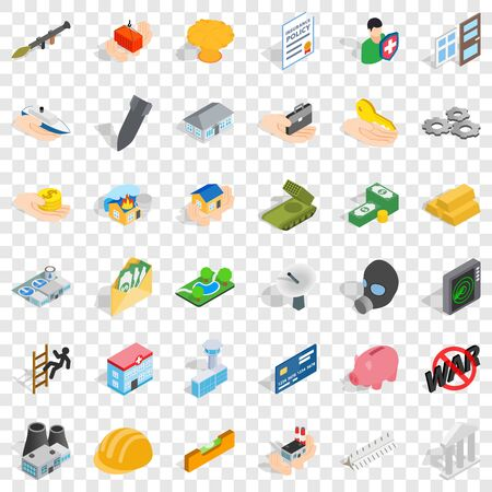 Joint stock company icons set, isometric style