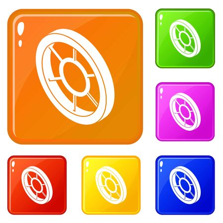 Round window frame icons set vector color Vettoriali