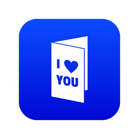Happy Valentines day or weeding card icon digital blue for any design isolated on white vector illustration Ilustração