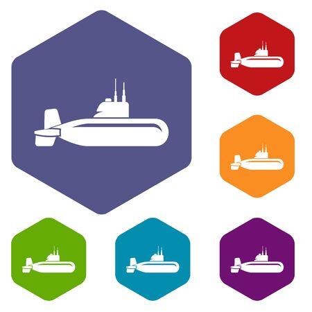Military submarine icon, simple style.