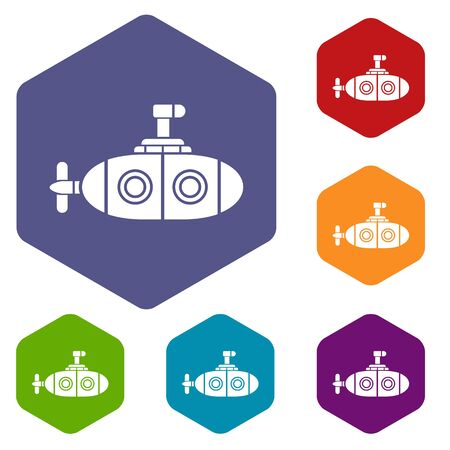 Submarine icon, simple style.