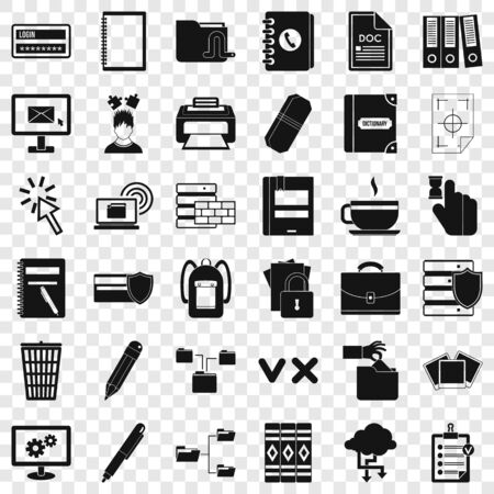 Dictionary icons set, simle style