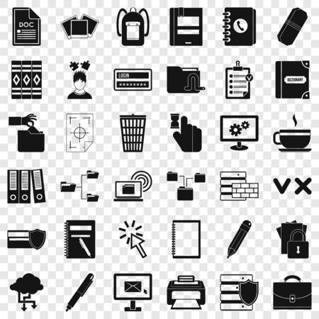 Information icons set, simle style Illustration