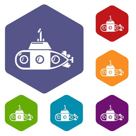 Submarine transportation icons vector colorful hexahedron set collection isolated on white