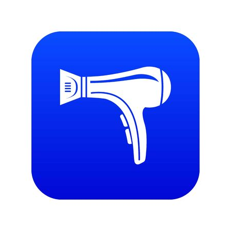 Hair dryer icon blue vector isolated on white background