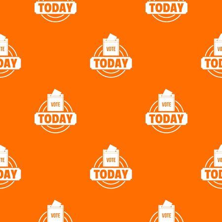 Vote today pattern vector orange Banque d'images - 124939304