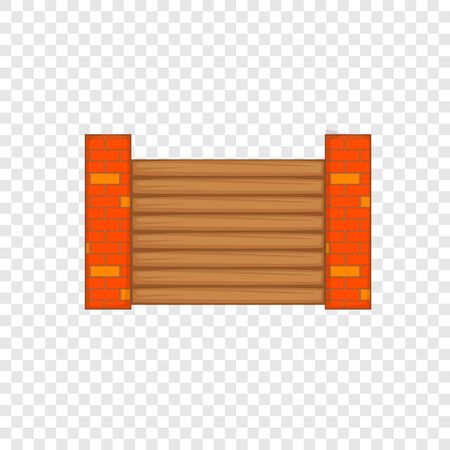 Fence with brick pillars icon, cartoon style
