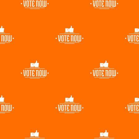 Vote now pattern vector orange Banque d'images - 124939366