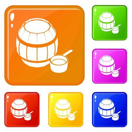 Barrel honey icons set vector color Ilustração