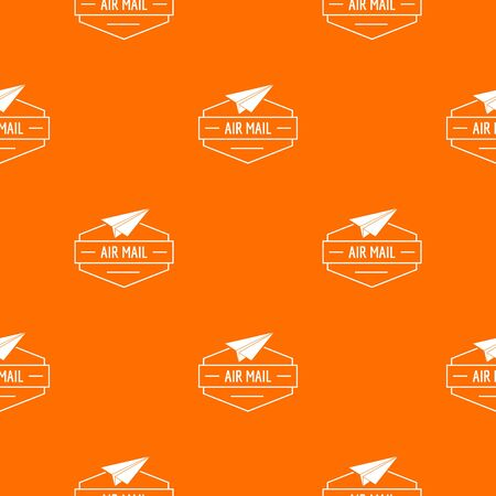 Delivery airplane pattern vector orange Illustration