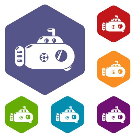 Submarine transport icons vector colorful hexahedron set collection isolated on white