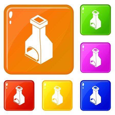 Old oven icons set collection vector 6 color isolated on white background