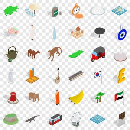 Uae icons set, isometric style