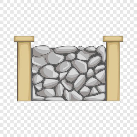 Stone fence icon. Cartoon illustration of stone fence vector icon for web