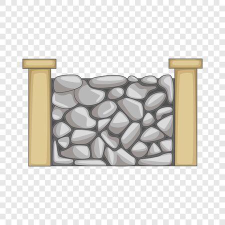 Stone fence icon. Cartoon illustration of stone fence vector icon for web Vector Illustratie