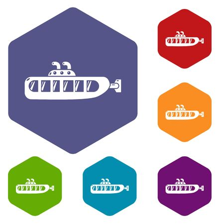Submarine design icons vector colorful hexahedron set collection isolated on white Illustration