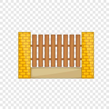 Houten omheining met het pictogram van baksteenpijlers. Cartoon illustratie van houten hek met bakstenen pilaren vector pictogram voor web
