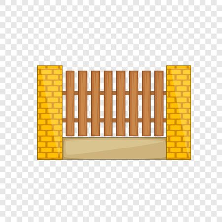 Wooden fence with brick pillars icon. Cartoon illustration of wooden fence with brick pillars vector icon for web Illustration