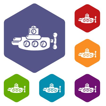 Submarine nautical icons vector colorful hexahedron set collection isolated on white