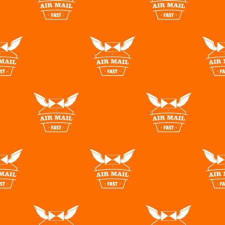 Air mail pattern vector orange