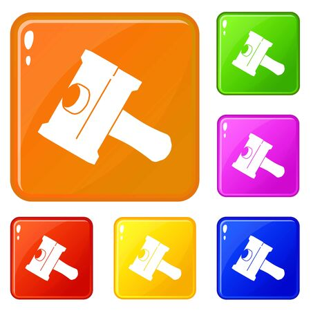 Big sledgehammer icons set vector color