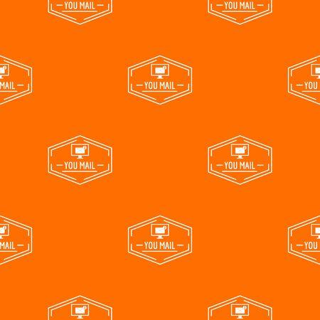 Mail pattern vector orange Ilustração