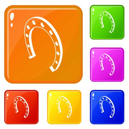 Horseshoe icons set collection vector 6 color isolated on white background 向量圖像