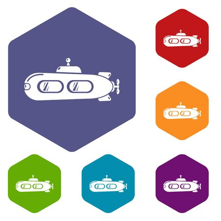 Submarine retro icons vector colorful hexahedron set collection isolated on white Illustration