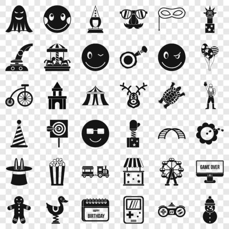 Crazy icons set, simple style