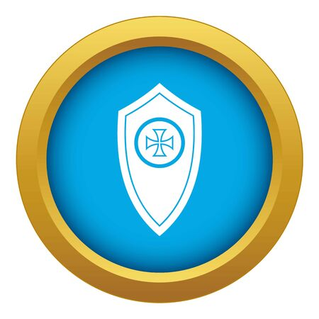 Shield icon blue vector isolated on white background for any design