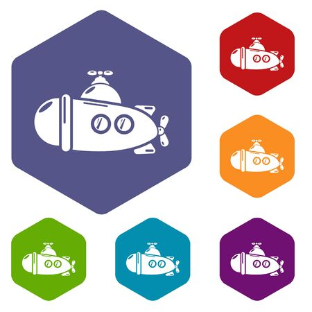 Submarine sea icons vector colorful hexahedron set collection isolated on white Illustration
