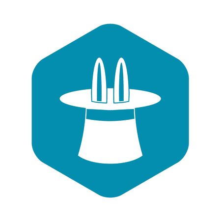 Rabbit ears appearing from a top magic hat icon in simple style on a white background vector illustration Çizim