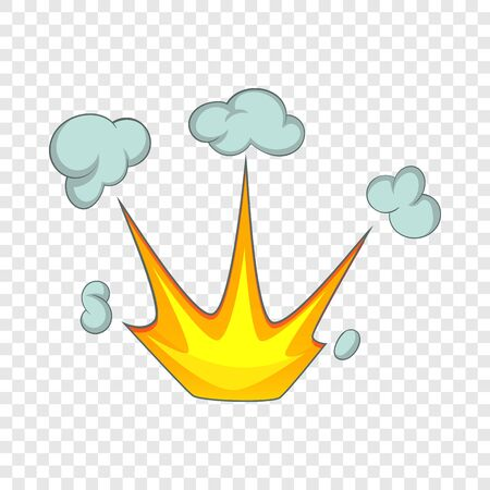 Explode effect with smoke icon. Cartoon illustration of explode effect with smoke vector icon for web