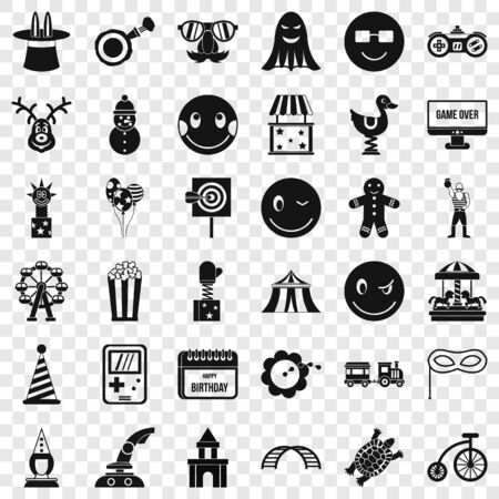 Fake icons set, simple style Illustration