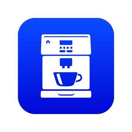 Coffee machine icon blue vector isolated on white background