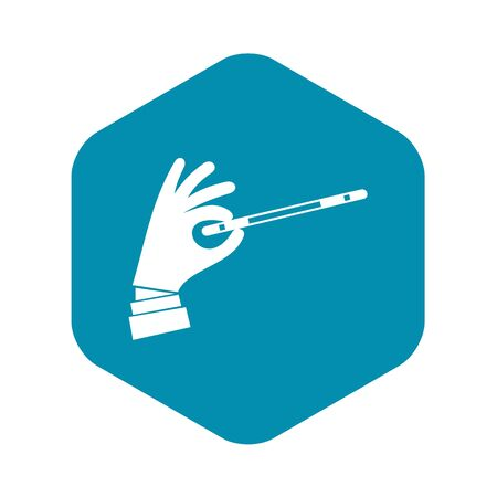 Magician hand with a magic wand icon in simple style on a white background vector illustration Иллюстрация