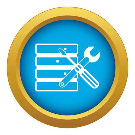 Database with screwdriverl and spanner icon blue vector isolated on white background for any design
