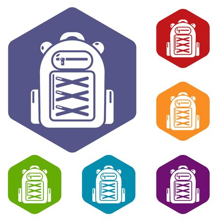 Backpack student icons vector colorful hexahedron set collection isolated on white