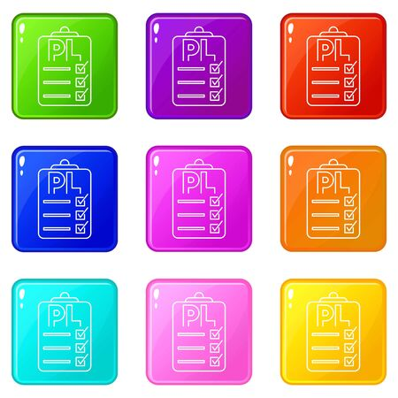 Clipboard with PL icons set 9 color collection isolated on white for any design 向量圖像