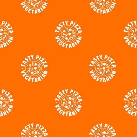 Pizza vegetarian pattern vector orange