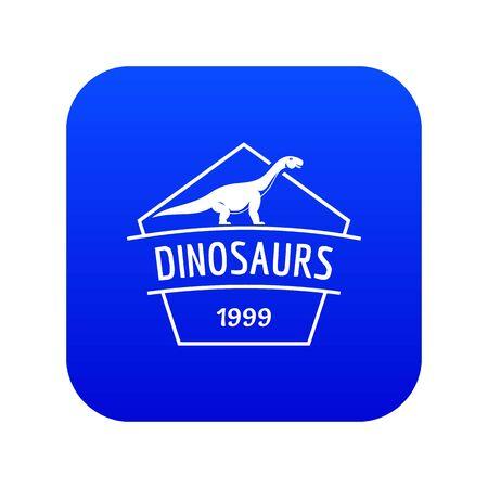 Dinosaur icon blue vector Illustration